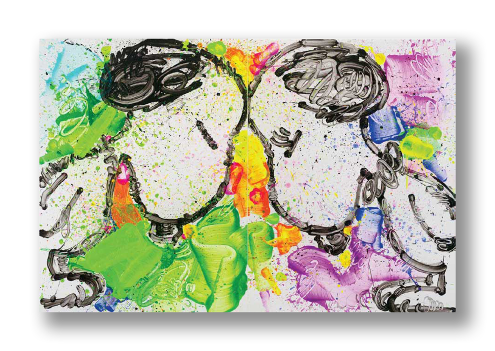 """""""Brothers and Sisters Please""""   84 x 128 inches (two panels) Acrylic and Enamel on Canvas"""