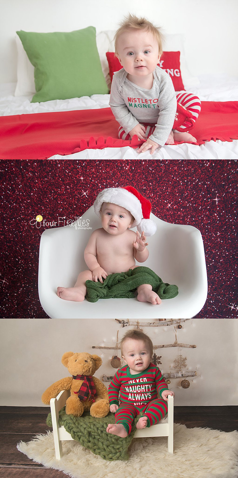 st-louis-baby-photographer-christmas-baby-on-three-different-backdrops-red-and-green-bed-red-sparkle-backdrop-rustic-tree-and-teddy-bear.jpg