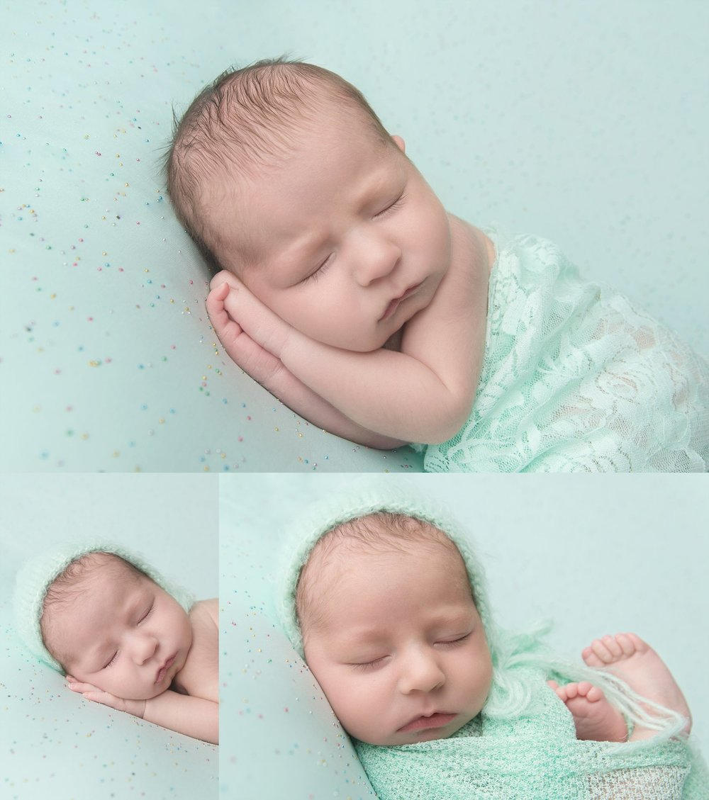 st-louis-newborn-photographer-baby-girl-on-mint-sparkle-background-with-lace-wrap-bonnet-collage.jpg