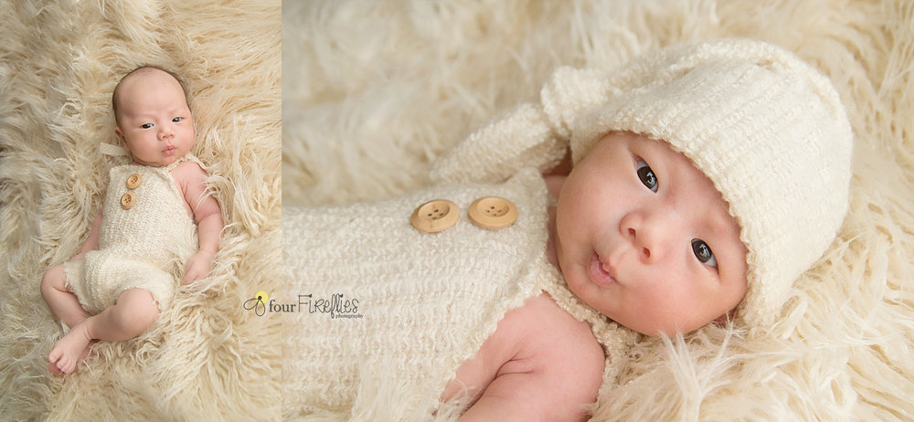 st-louis-newborn-photographer-baby-boy-in-beige-romper-with-buttons-and-hat-on-neutral-fur.jpg