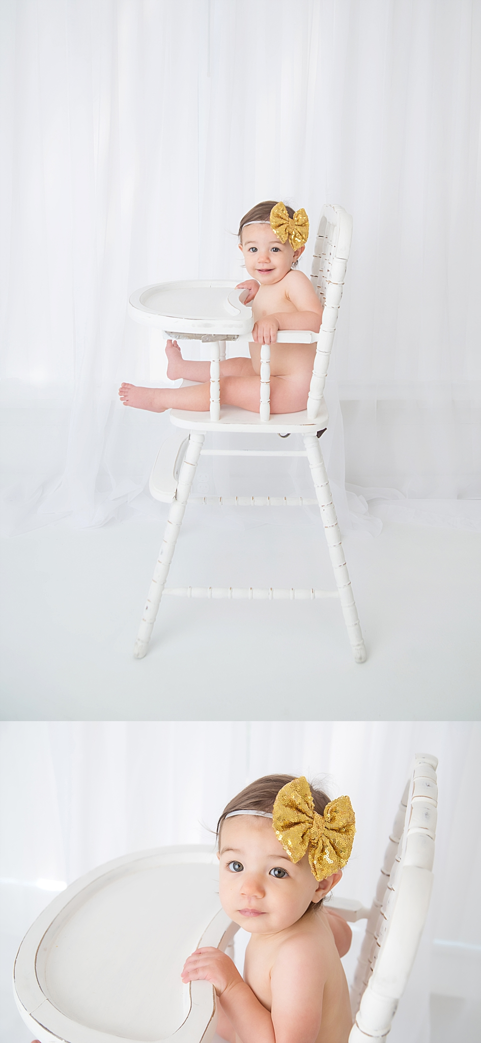 st-louis-first-birthday-cake-smash-photographer-baby-girl-in-white-high-chair-with-white-window-curtain.jpg