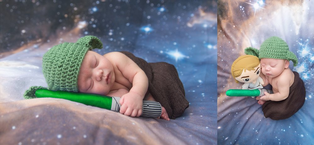 st-louis-newborn-photographer-baby-boy-wearing-star-wars-yoda-hat-and-green-lightsaber-on-galaxy-backdrop.jpg