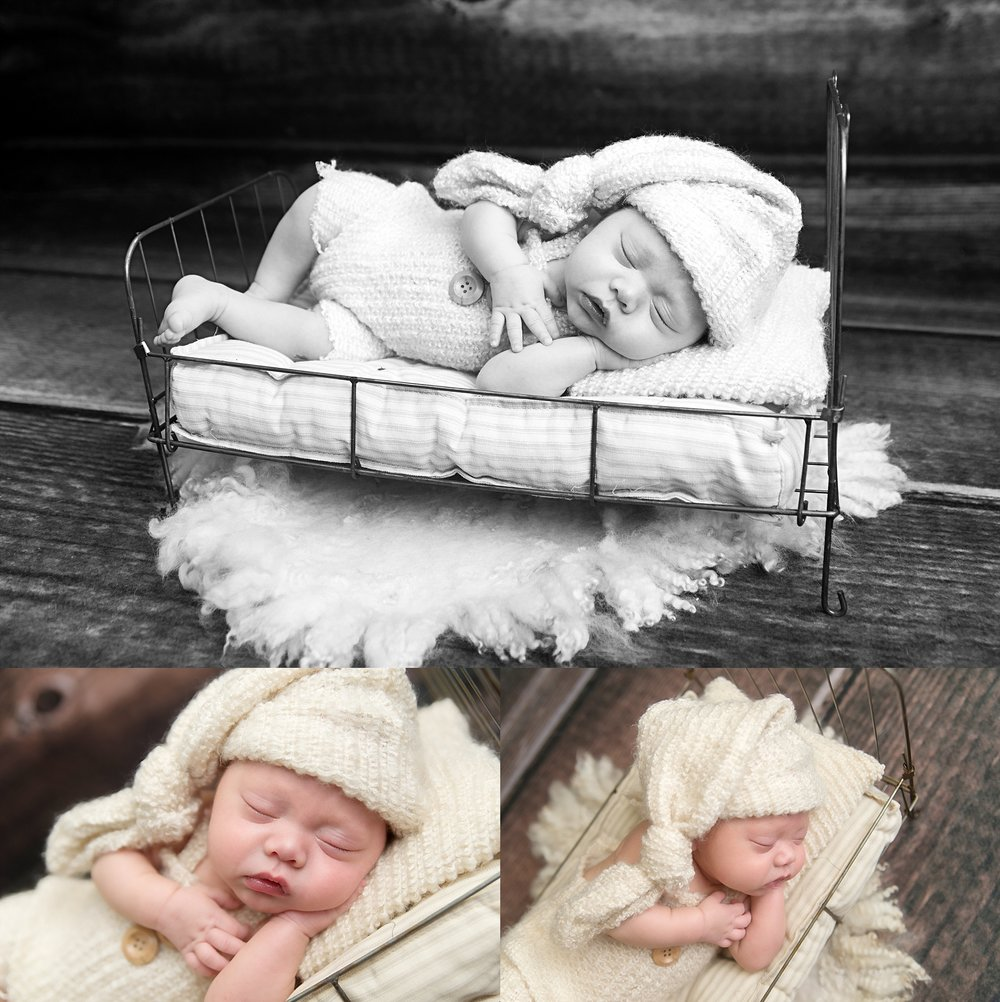 st-louis-newborn-photographer-baby-boy-wearing-fuzzy-cream-romper-and-hat-laying-on-wire-bed-with-wood-backdrop.jpg
