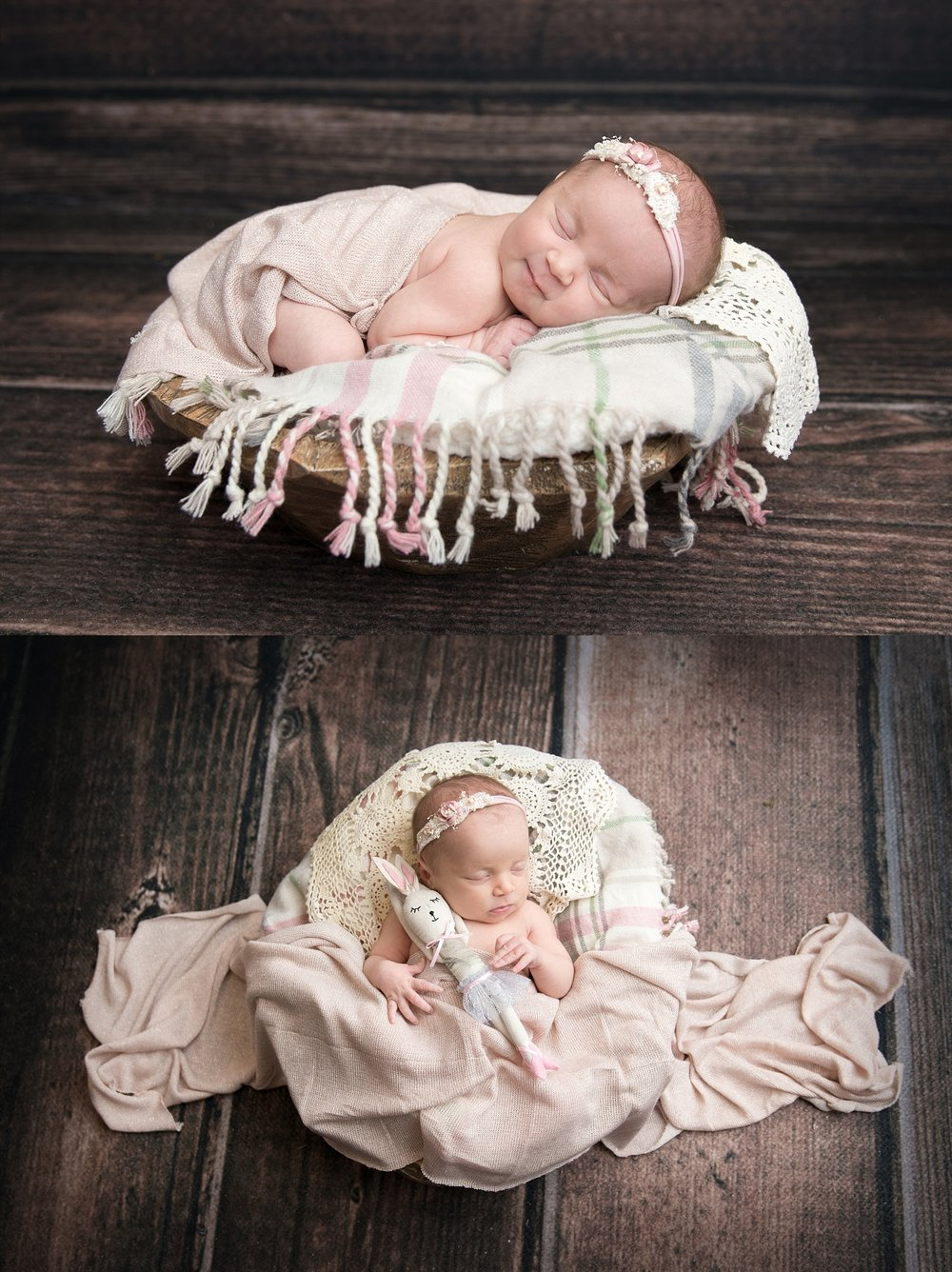 st-louis-newborn-photographer-collage-baby-girl-on-pink-plaid-blanket-with-wood-floor.jpg
