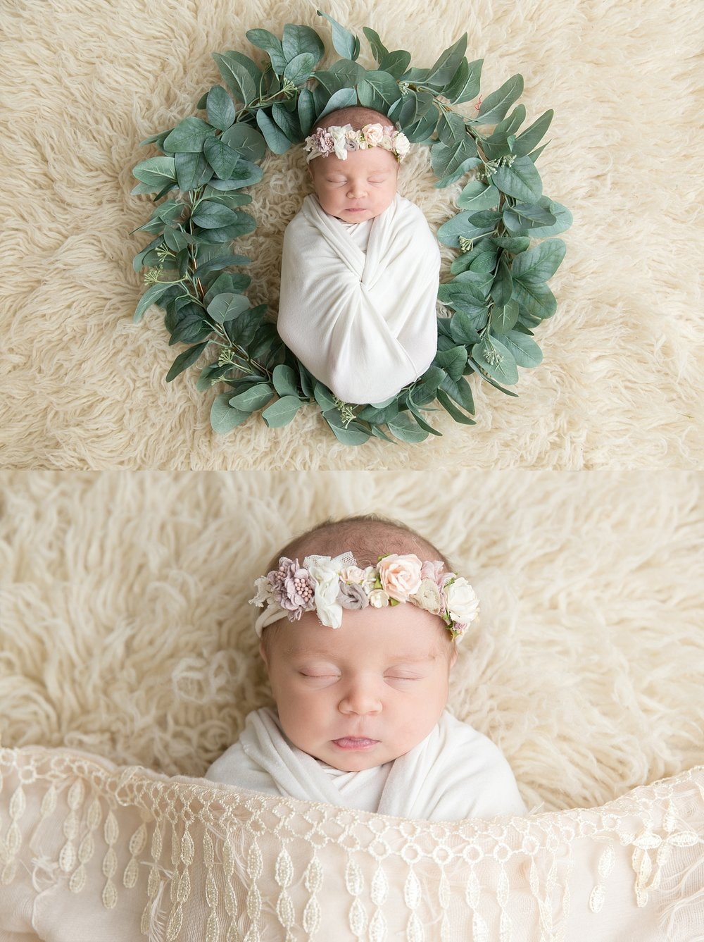st-louis-newborn-photographer-collage-baby-girl-on-cream-fur-with-green-wreath.jpg