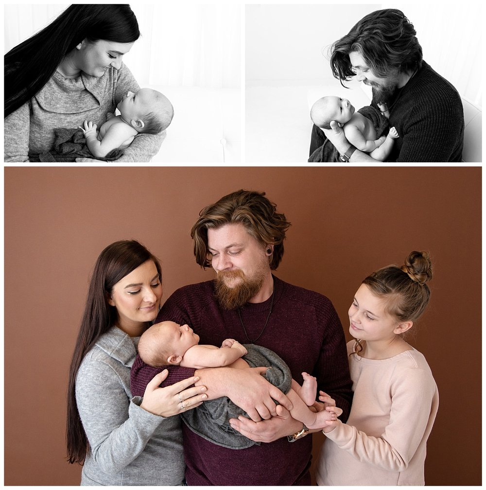 st-louis-newborn-photographer-baby-boy-with family-on-brown-backdrop-collaged-with-mom-and-dad-with-newborn.jpg