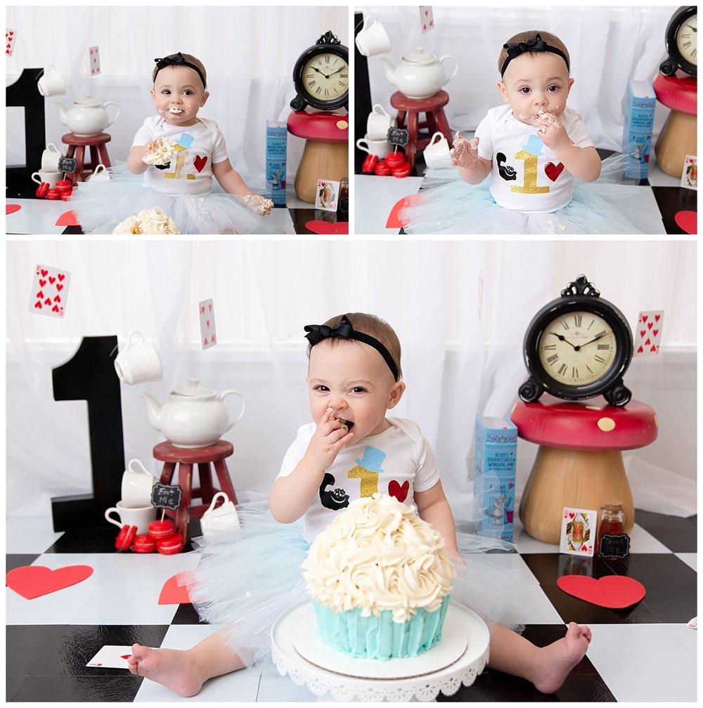 st-louis-cake-smash-photographer-alice-in-wonderland-cake-smash-baby-girl-collage-eating-cake.jpg
