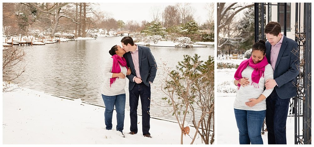 st-louis-maternity-photographer-mom-and-dad-kissing-overlooking-japanese-garden-at-missouri-botanical-gardens-mobot-in-the-snow.jpg