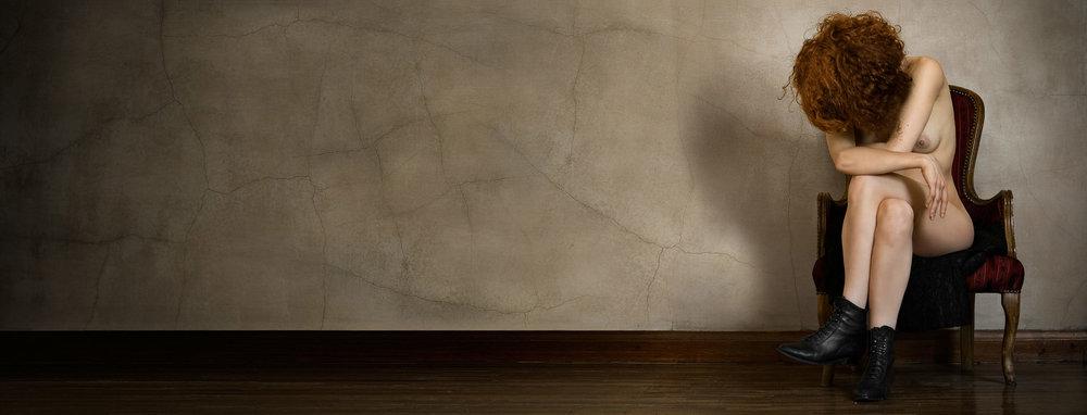 "With Face Hidden <em>, 2010 <p>after ""Frontal Seated Female, with Face Hidden"", Gustav Klimt, 1908</em>"