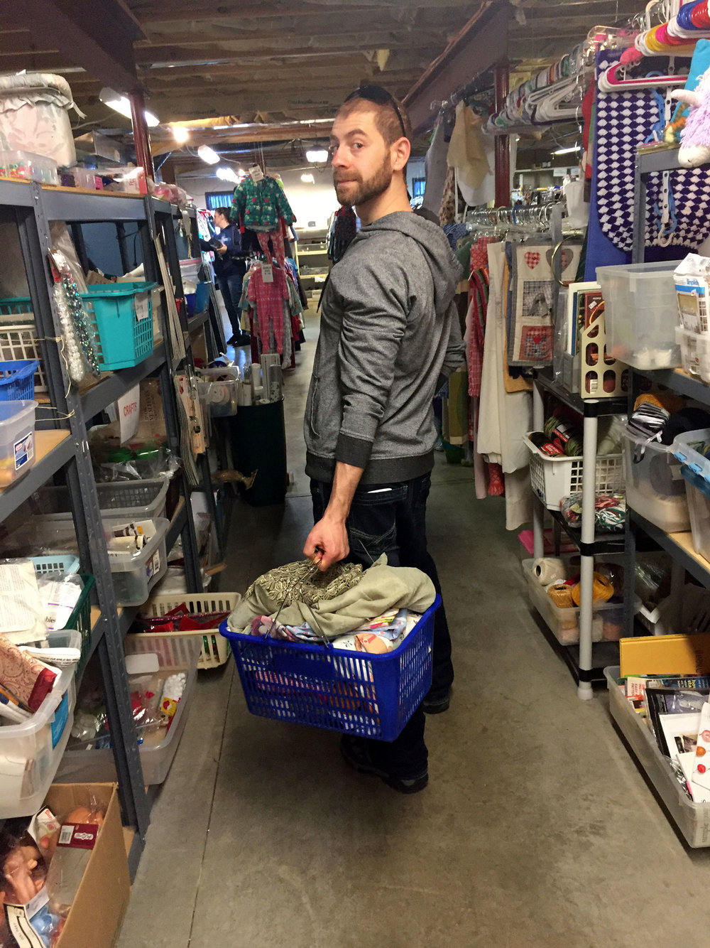 Me as Sews's thrifting helper at her favorite thrift shop in Charlotte, MI.