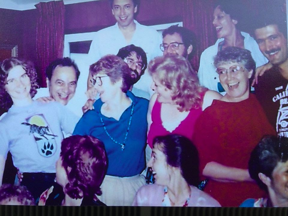 At the 1988 Weeklong certification training in Chicago at the Villa Redeemer Retreat Center. Mary McGuire (on the right, in red), Brian Korzec (far right)Bruce Nayowith (behind woman in blue).with Lakme Elior, Reva Bernstein, and Mary McDonald.