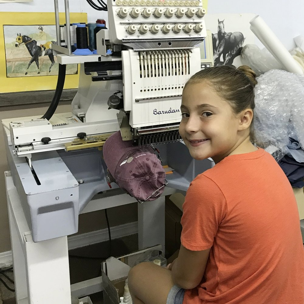 Baurdan machines - We use the most current technology for our embroidery. Baurdan embroidery machines are convenient to use, perform with high-speed, and produce high quality embroidery. This machine has many uses, meeting our many customer needs.