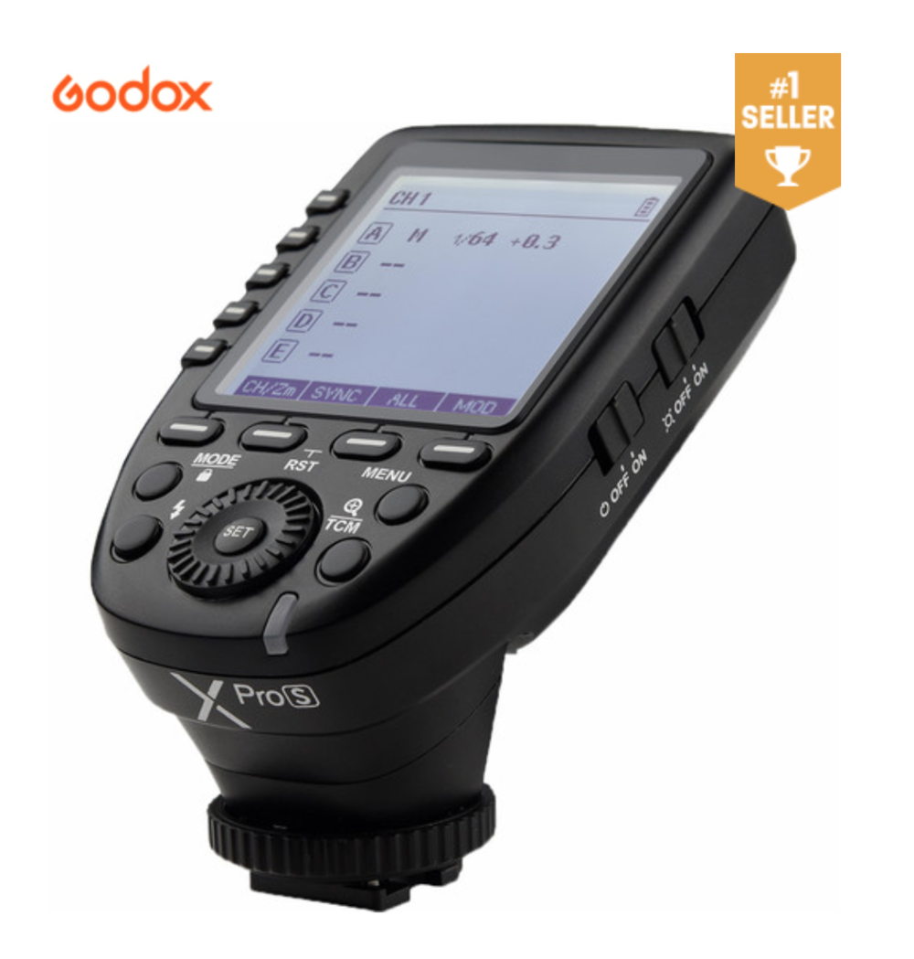 Godox XProS TTL Wireless Flash Trigger - Triggers any flash in the system, on-camera, off-camera, studio strobe etc… Brilliant!