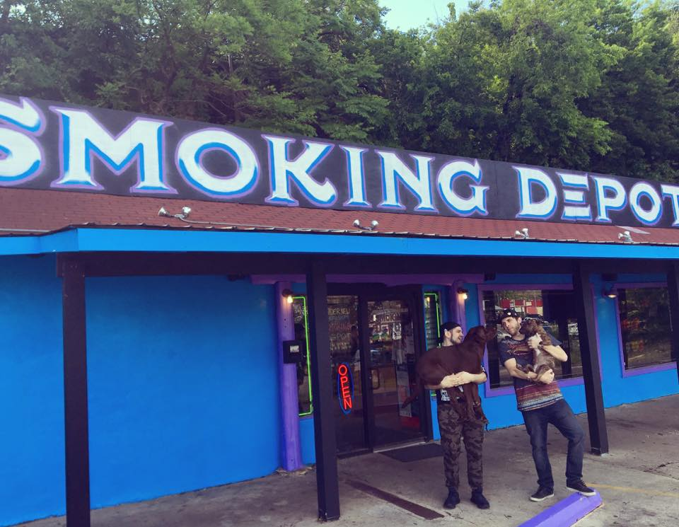 The owner and his partner outside of the Smoking Depot in Austin, Texas.