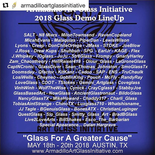 Talk about an extreme line up! Come party with us next weekend and meet some amazingly talented artists, whilst enjoying the better side of life! All for a great cause!  Follow @armadilloartglassinitiative for more details!  #armadilloartglassinitiative #mealsonwheels #smokingdepot #glassforacause #art #atx #partytime #atxstoners #atxdabbers #headyglass #toomanyartiststohashtag #funtime #getschwifty #craiglewisforprez