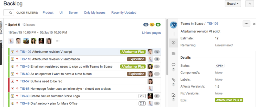If you use JIRA, your backlog should look something like this.