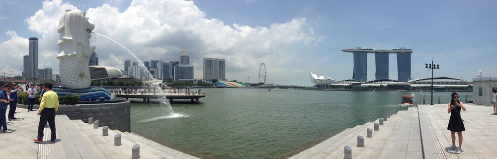 Merlion Park waterfront view Singapore city