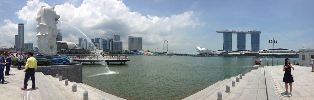Merlion Park waterfront view Singapore city