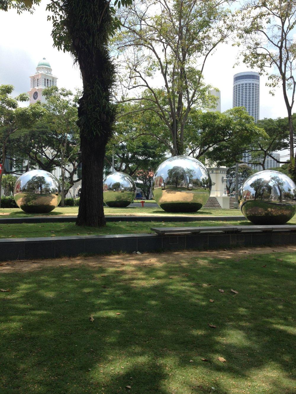 Giant Silver Balls on the Esplanade Singapore City