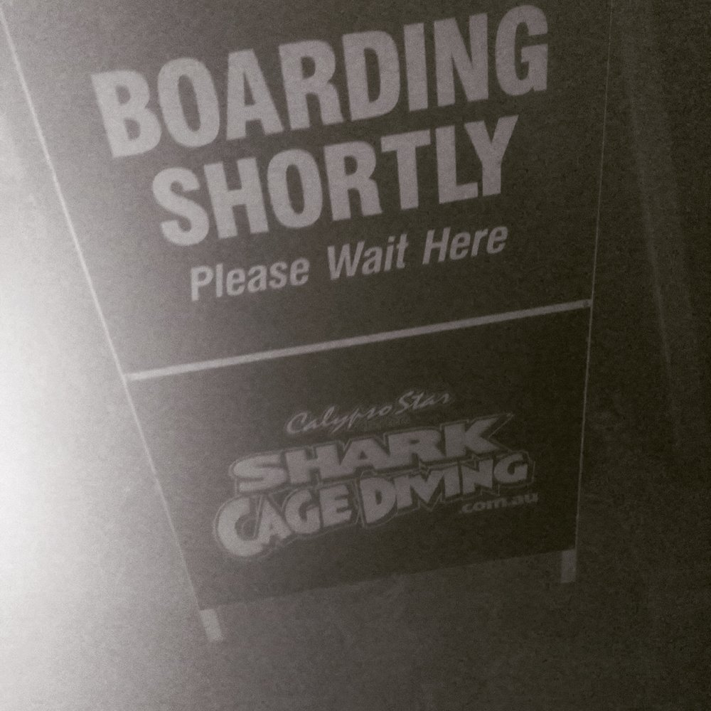 boarding shortly shark cage dive sign