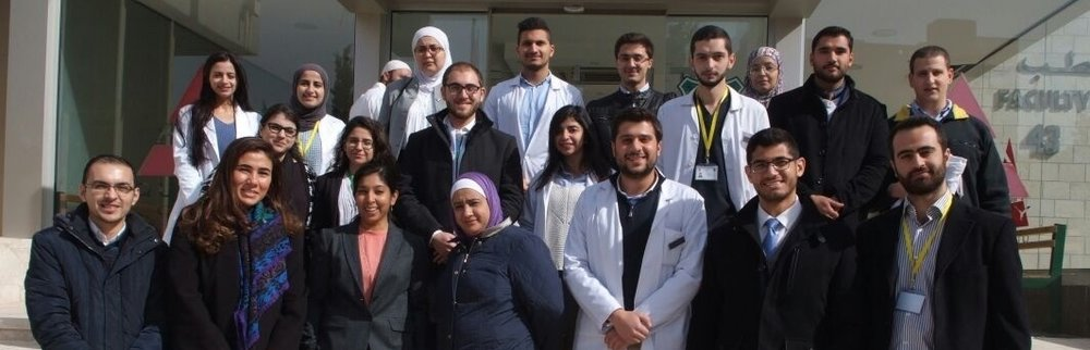 Drs. Abu-Hassan, Dasgputa, and Khadra with medical students from the University of Jordan in Amman after a training on ethical conduct of research in January 2017.
