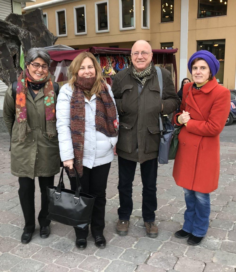 From left to right: Co-Investigators Drs. Neşe Şahin Taşğın,Deniz Yükseker, and Uğur Tekin with ASPIRE's Filiz Katibe Şaşaoğlu.