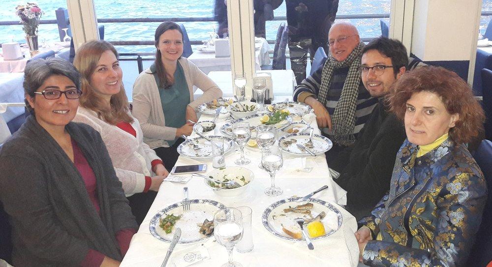 The Providers ASPIRE team having dinner at the close of the week. From left to right:Dr. Neşe Şahin Taşğın,Dr. Deniz Yükseker, Melissa Meinhart,Dr.Uğur Tekin,Kutay Kutlu, and Filiz Katibe Şaşaoğlu.