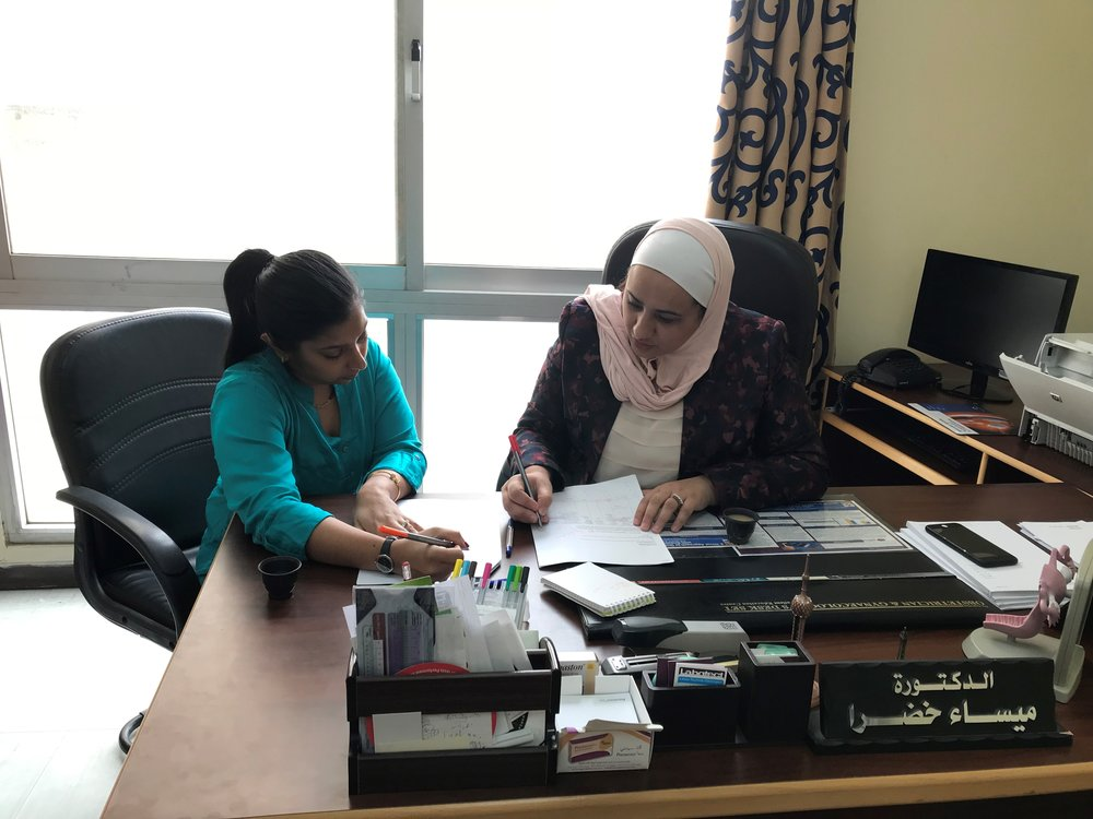 Dr. Anindita Dasgupta and Dr. Maysa' Khadra working hard to finalize survey questionnaire and study materials