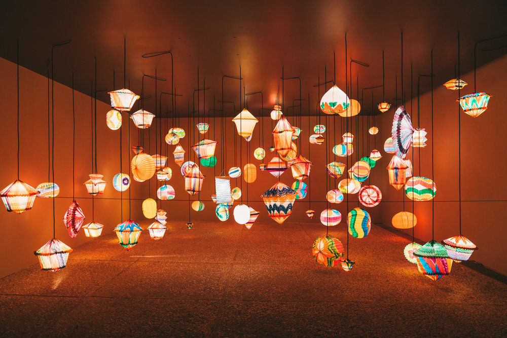 Paper lanterns on display at Museo Tamayo