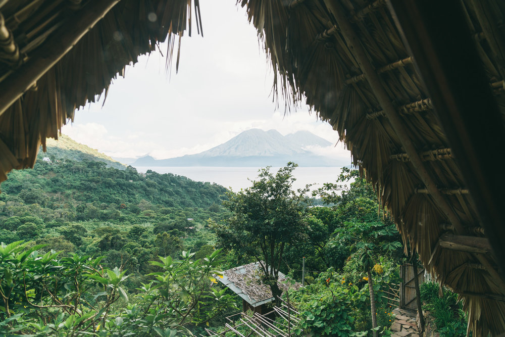 The yoga Forest Accommodations with view of Lake Atitlan Volcanos