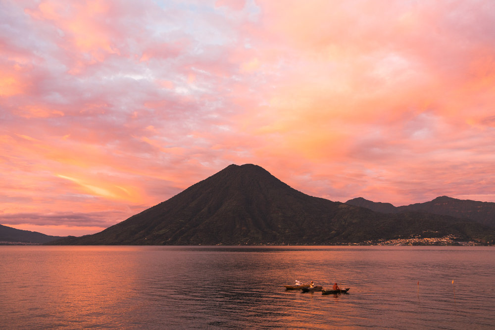View of Volcano Taliman in Lake atitlan in the morning