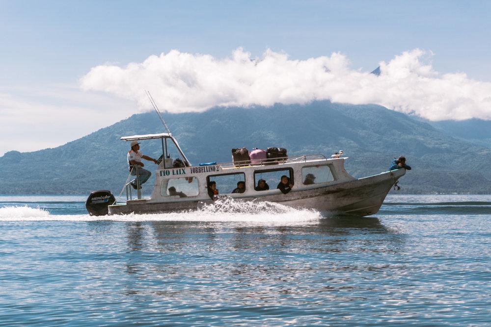 A boat (lancha) at lake atitlan