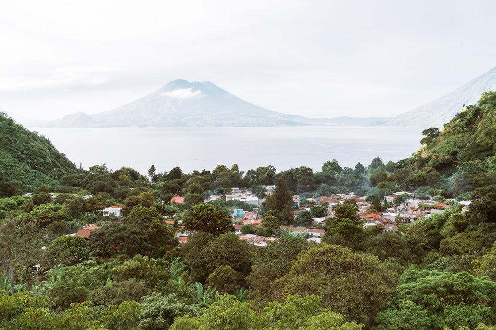 view from the top over Jaibalito at lake atitlan