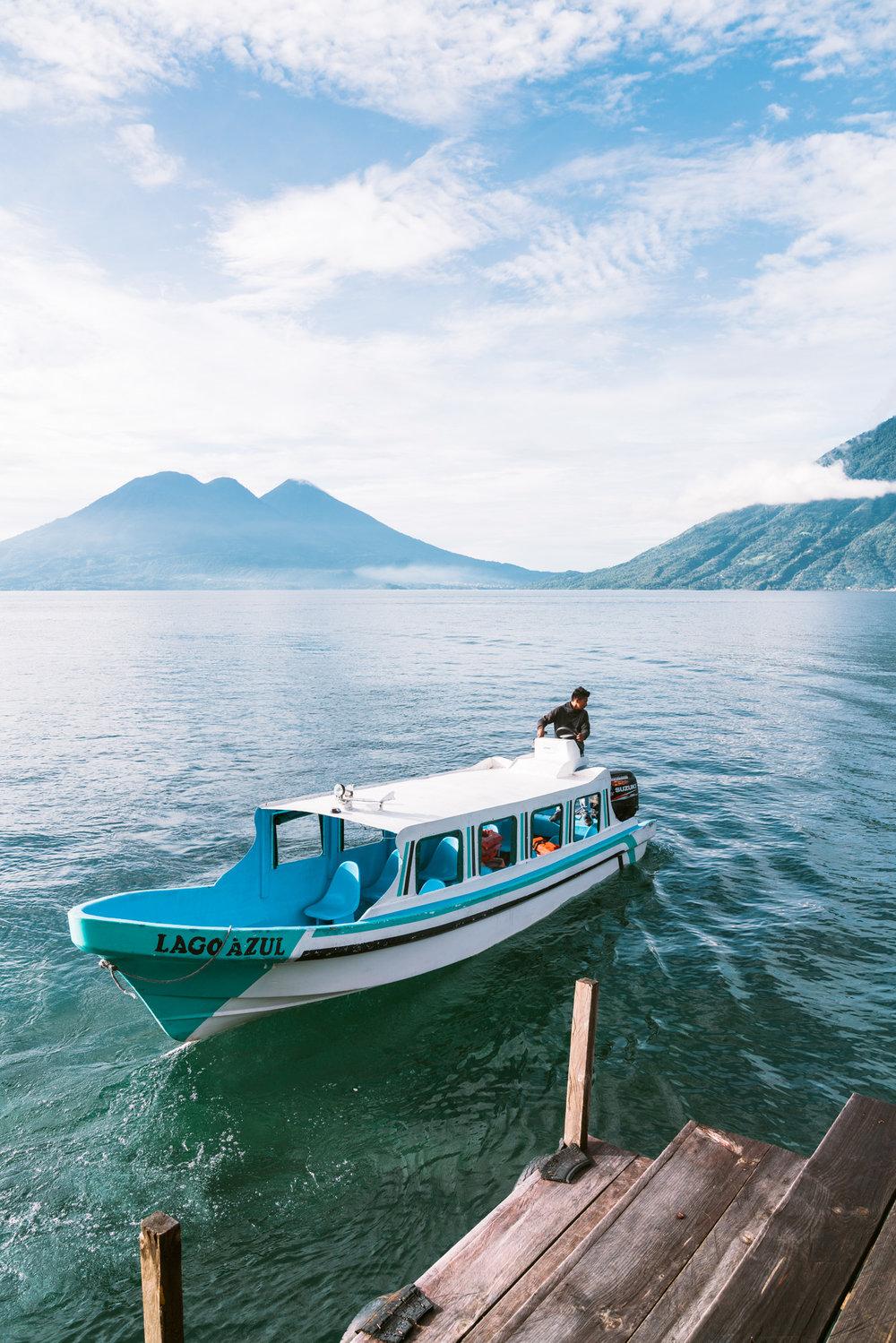a boat ferry at lake atitlan