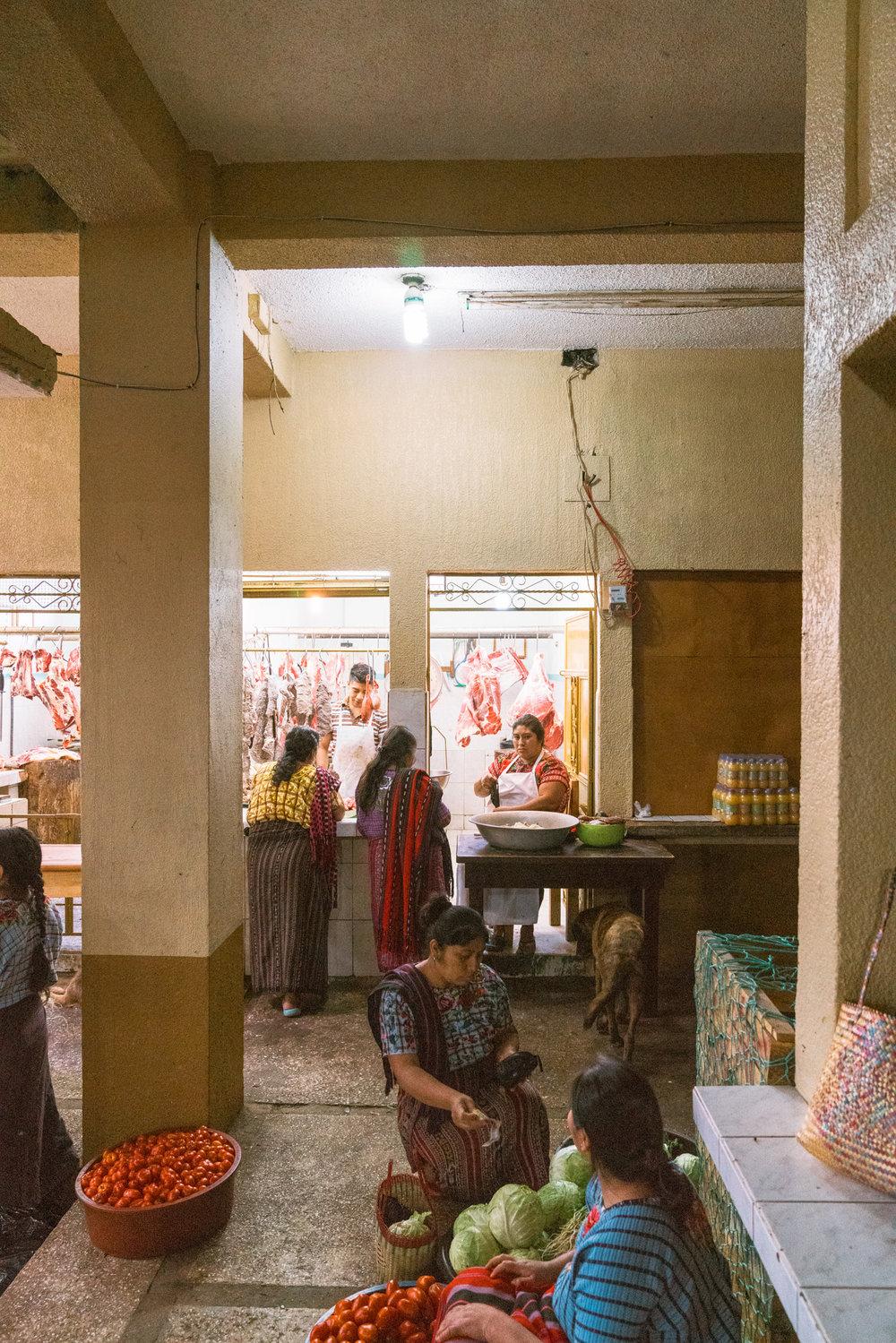women selling fresh food at the sunday market in Santiago at lake atitlan