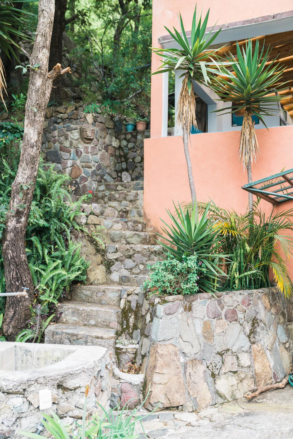 Stairs up to the bathroom at Adobe Airbnb in Jaibalito at lake atitlan