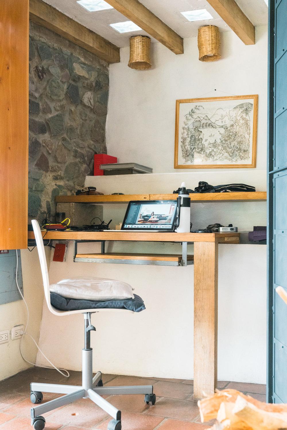 Desk at Eagles Nest Airbnb in Jaibalito at lake atitlan