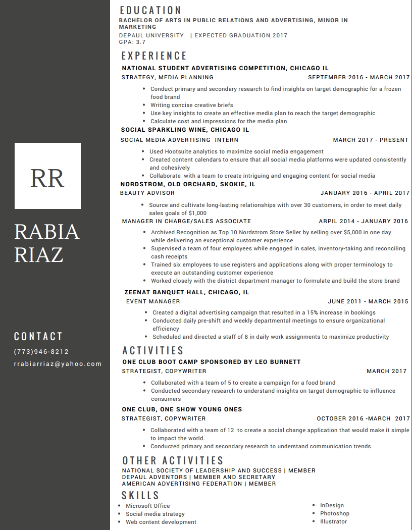 Rabia Riaz  One Day Resume
