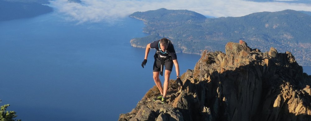 Ridgeline scrambling high on Mt. Brunswick along the Howe Sound Crest Trail.