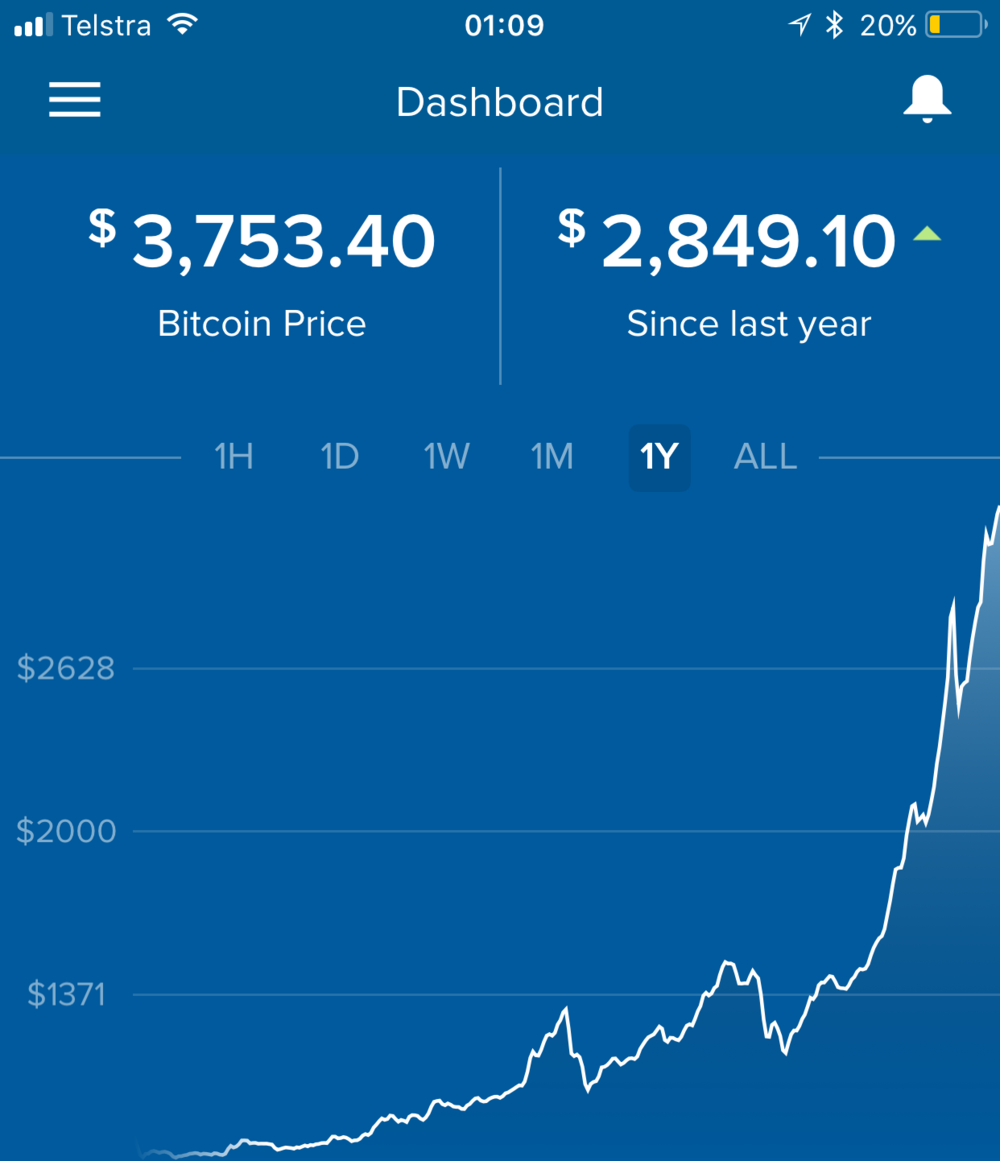 Bitcoin price over the past year