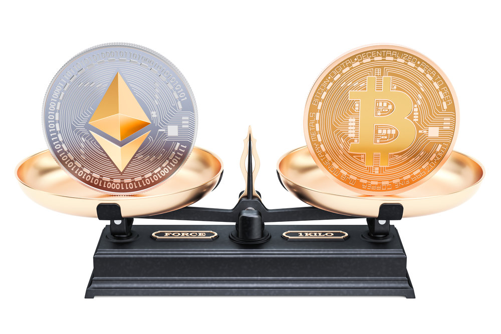 Balance concept, bitcoin or ethereum. 3D rendering