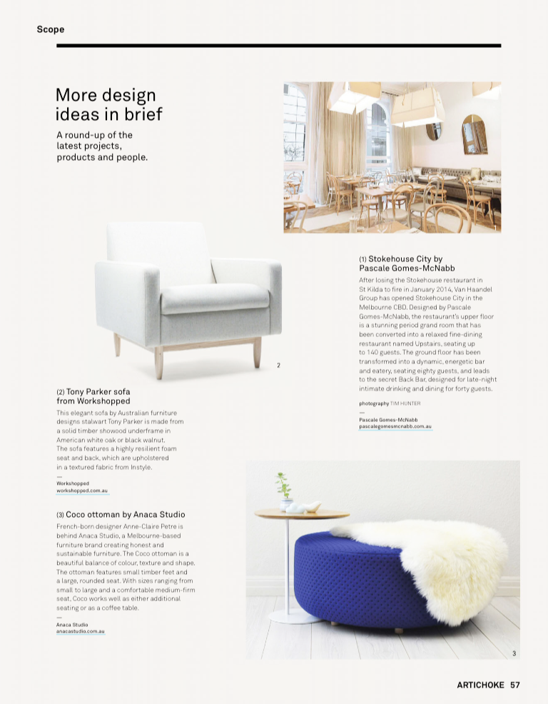 3 September 2014 - Artichoke Magazine Featuring Coco ottoman & Zoe table