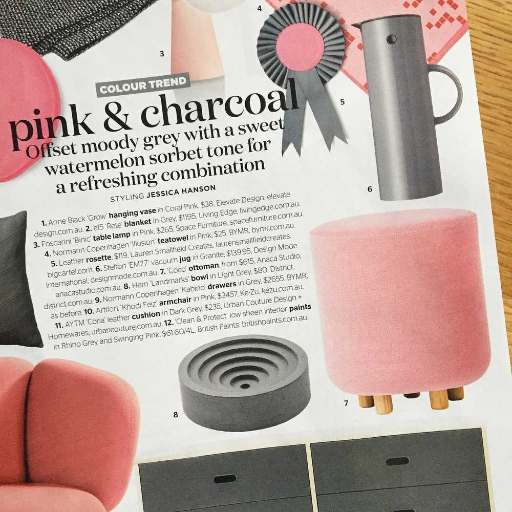 Aug 2016 - Home Beautiful - Featuring our small Coco ottoman.