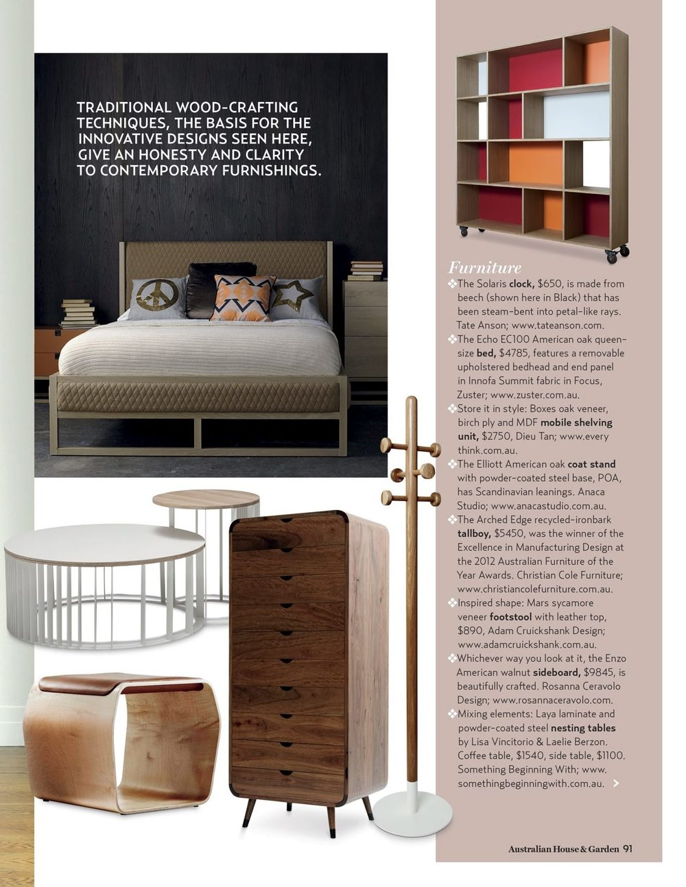 Dec 2012 issue - House&Garden - Elliot coat stand -  Selected as part of H&G Style Awards 2012 in the Furniture section.