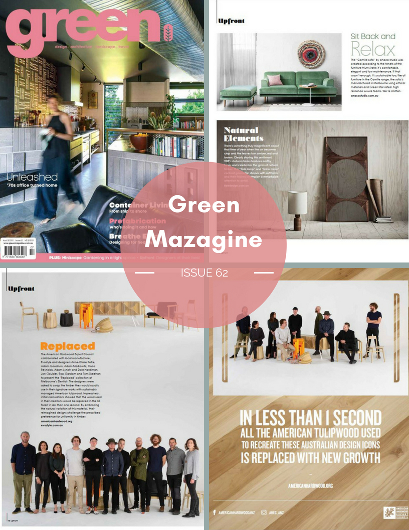 "Green Mazagine - Issue 62 - July 2018 - Camille sofa  here  and Emi pod project with The American Hardwood Export Council ""Replaced""  here ."