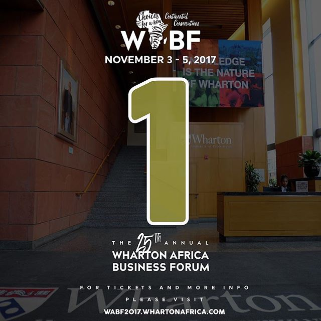 1 more day till the 25th edition of the Wharton Africa Business Forum! Exciting panels, panelists, attendees and surprises lined up.  Tickets available online at wabf2017.whartonafrica.com (link in bio) Tkts: wabf2017.whartonafrica.com (link in bio) • #WABF #myAfricastory #myWharton #AfricanLeadership #africanbusiness