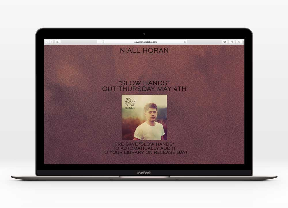 NIALL HORAN - SLOW HANDSUX Design | 82,600+ unique users | In collaboration with Capitol Records | Most successful U.S.