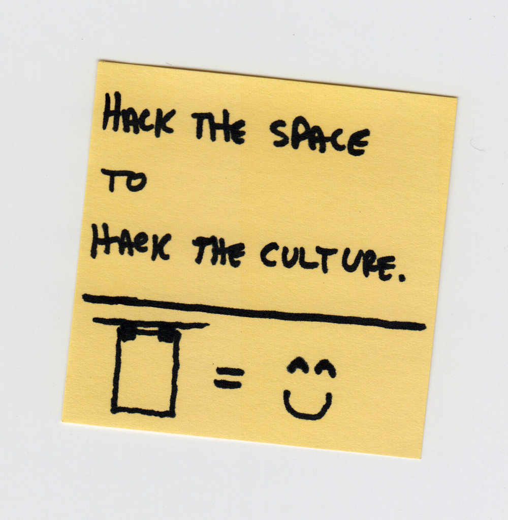 A post-it and a sketch from our Hack Day brainstorm, the genesis of the Make Lab.