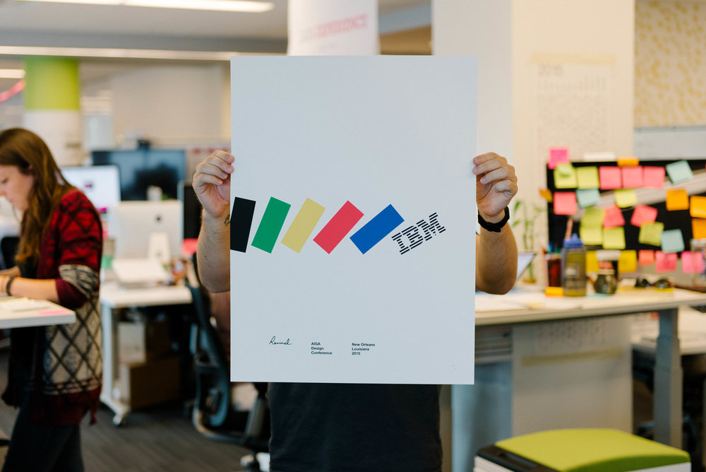 "Our poster for the AIGA National Design Conference in New Orleans, really a ""coming out party"" for IBM's revitalized design practice."