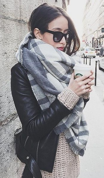 Chic grey and white scarf